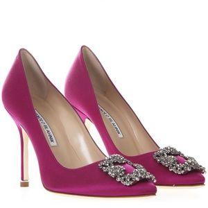 Manolo Blahnik Hangisi Pink Satin Jewel Pump Heels